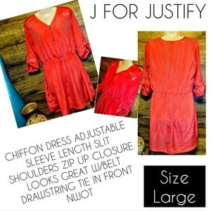 J for Justify Dress Size L Coral Cut Out Panel New